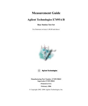 Measurement Guide Agilent Technologies E7495A/B - TRS-RenTelco
