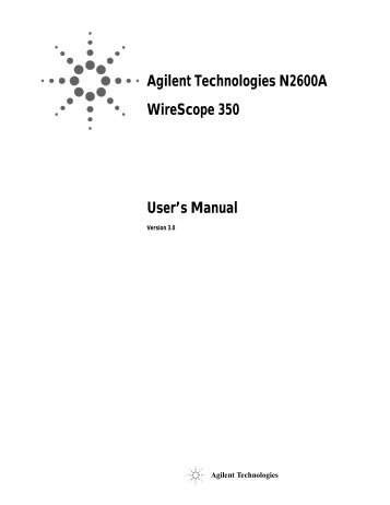 Agilent Technologies N2600A WireScope 350 User's Manual