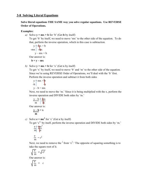 3 8 Literal Equations Notes