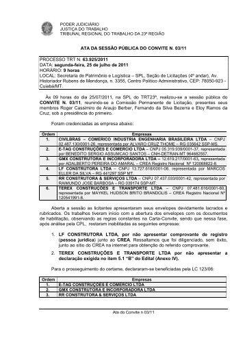Ata da Sessão - Tribunal Regional do Trabalho - 23ª Região