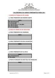 CALENDÁRIO DA VARAS ITINERANTES PARA 2011