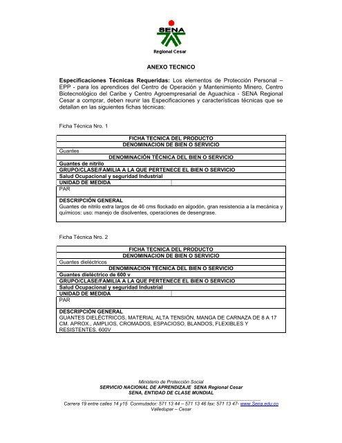 Anexo Tecnico Especificaciones Tã Cnicas Requeridas Sena