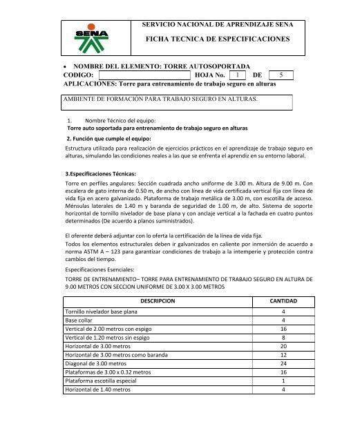 Fichas Tecnicas De Especificaciones Sena