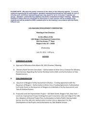 USA NIAGARA DEVELOPMENT CORPORATION Meeting of the ...