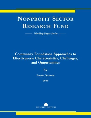NONPROFIT SECTOR RESEARCH FUND - Grantmakers in the Arts
