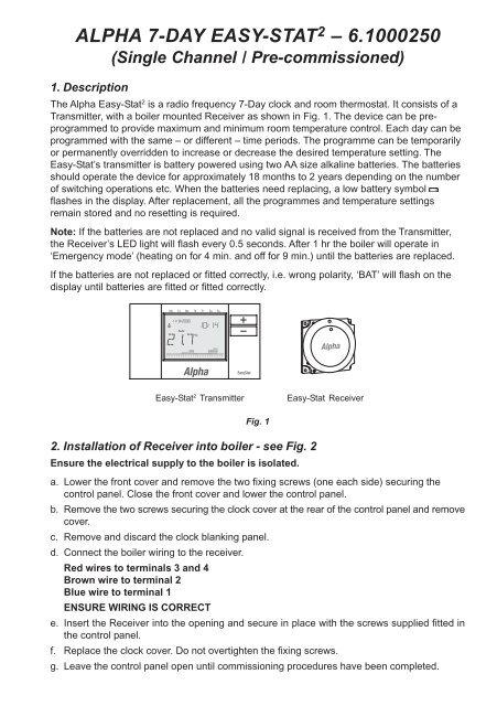 7 Day Digital EasyStat User Instructions - Alpha boilers