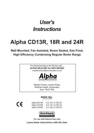 500E User instructions - Alpha boilers