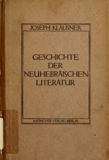Geschichte der neuhebräischen Literatur - Scholars Portal