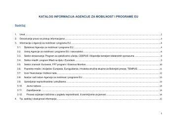 Katalog informacija - Agencija za mobilnost i programe EU