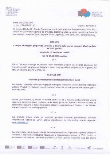 Odluka 1.2 Inicijative mladih - Agencija za mobilnost i programe EU