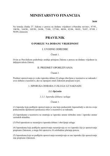 Pravilnik o porezu na dodanu vrijednost Ministarstva financija ...