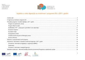 Izvješće o radu Agencije za mobilnost i programe EU u 2011. godini