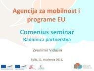 Radionica - Partnerstva - Agencija za mobilnost i programe EU