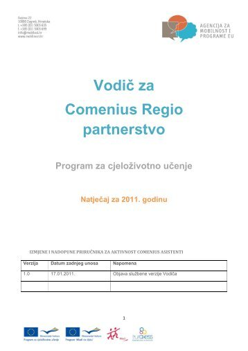 Vodič za Regio partnerstva - Agencija za mobilnost i programe EU