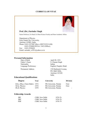 (Dr.) Surinder Singh - Guru Nanak Dev University