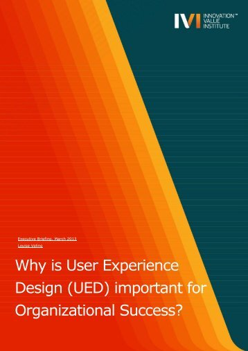 Why is User Experience Design - IVI Innovation Value Institute ...