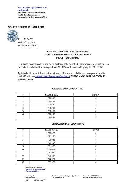 Graduatoria Di 13 politong Milano pdf Politecnico EDHYeW29Ib