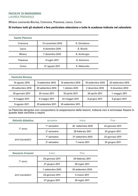 Calendario Politecnico Milano.Facolta Di Ingegneria