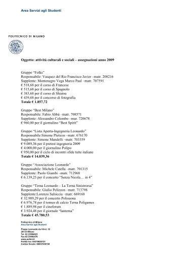 Oggetto: attività culturali e sociali – assegnazioni anno 2009 Gruppo ...