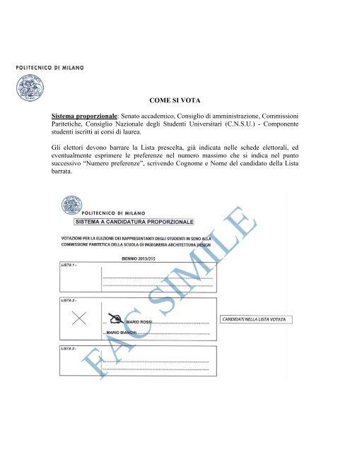 Come si vota - Politecnico di Milano