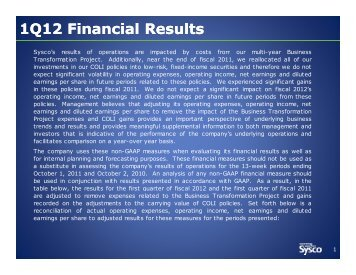 1Q12 Financial Results (continued) - Sysco