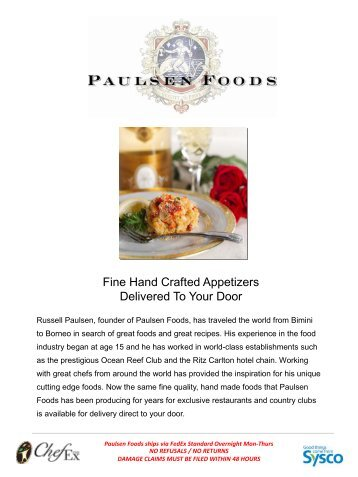 Fine Hand Crafted Appetizers Delivered To Your Door - Sysco