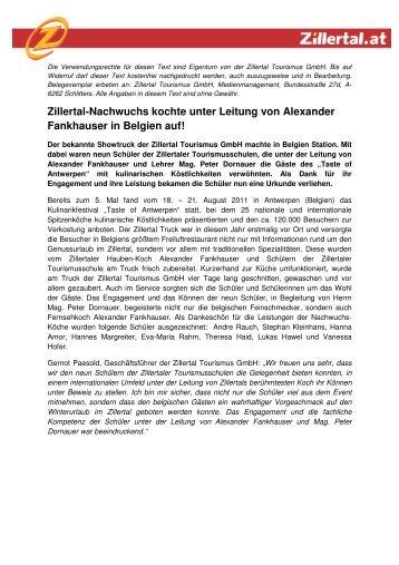 Medieninformation zillertal-Nachwuchs kochte unter Leitung von ...