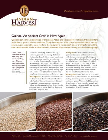 Quinoa: An Ancient Grain is New Again - Sysco
