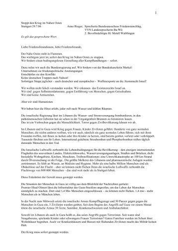 Stoppt den Krieg im Nahen Osten Stuttgart 29.7.06 ... - Trueten.de