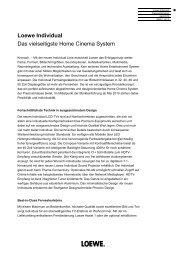 Loewe Individual Das vielseitigste Home Cinema System - Loewe AG