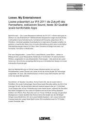 Loewe. My Entertainment Loewe präsentiert zur IFA ... - Loewe AG
