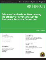Evidence Synthesis for Determining the Efficacy - HSR&D - US ...