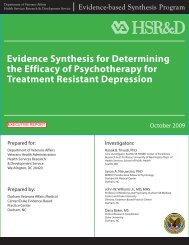Evidence Synthesis for Determining the Efficacy of ... - HSR&D