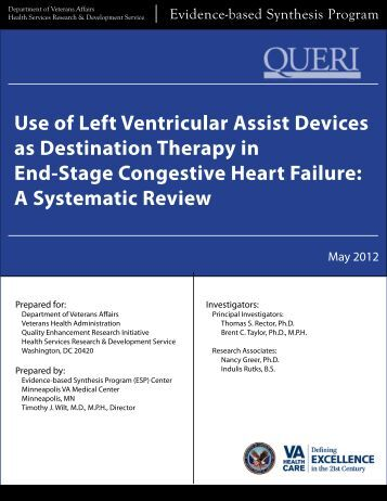 Use of Left Ventricular Assist Devices as Destination Therapy in End ...