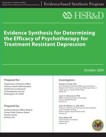 Evidence Synthesis for Determining the Efficacy of Psychotherapy ...