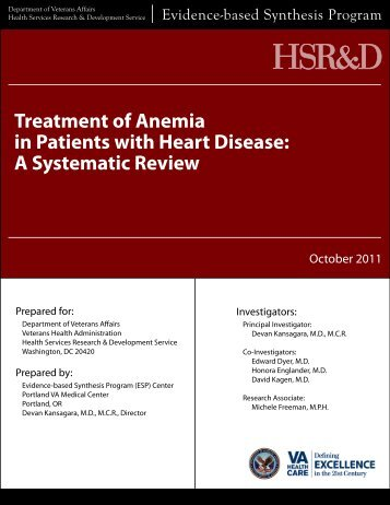 Treatment of Anemia in Patients with Heart Disease: A ... - HSR&D