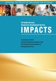 VA Health Services Research and Development Impacts, 2009