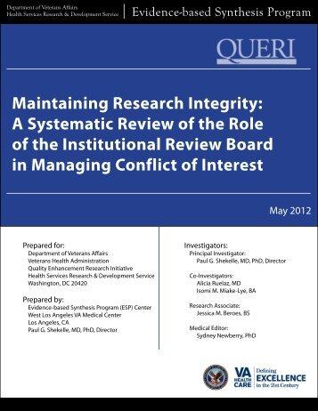 Maintaining Research Integrity: EXECUTIVE SUMMARY - HSR&D