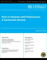 Pain in Patients with Polytrauma - A systematic review - HSR&D