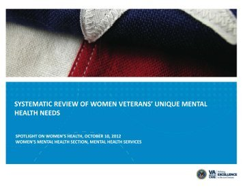 SYSTEMATIC REVIEW OF WOMEN VETERANS' UNIQUE MENTAL ...