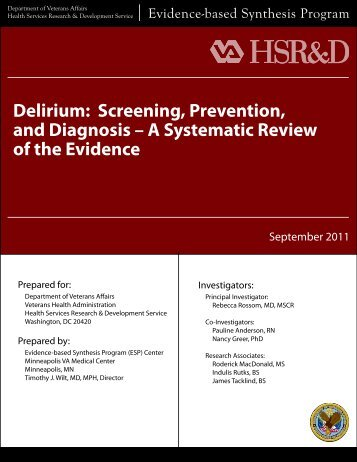 Delirium: Screening, Prevention, and Diagnosis – A ... - HSR&D
