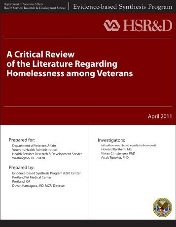 A Critical Review of the Literature Regarding Homelessness among ...