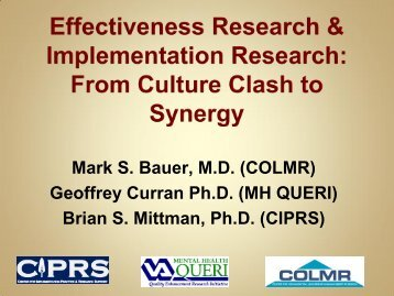 Effectiveness Research and Implementation Research: From ...