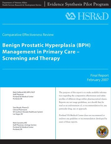 (BPH) Management in Primary Care - HSR&D
