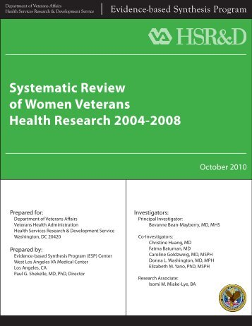 Systematic Review of Women Veterans Health Research ... - HSR&D
