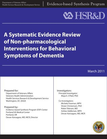 A Systematic Evidence Review of Non-pharmacological ... - HSR&D