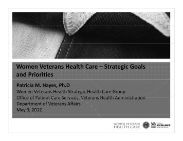 Women Veterans Health Care – Strategic Goals and Priorities