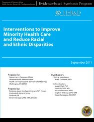 Interventions to Improve Minority Health Care and Racial ... - HSR&D