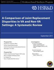A Comparison of Joint Replacement Disparities in VA and ... - HSR&D