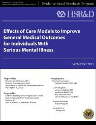 Effects of Care Models to Improve General Medical ... - HSR&D